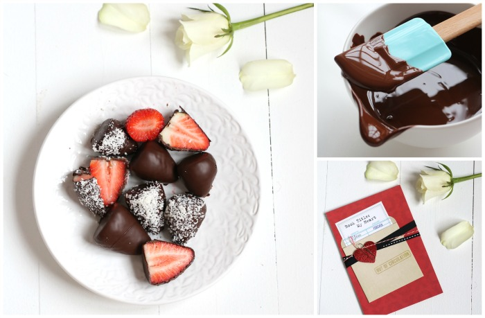 Simple Valentine's Day Strawberries dipped in chocolate