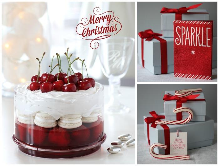 Strawberry & vanilla macaron trifle
