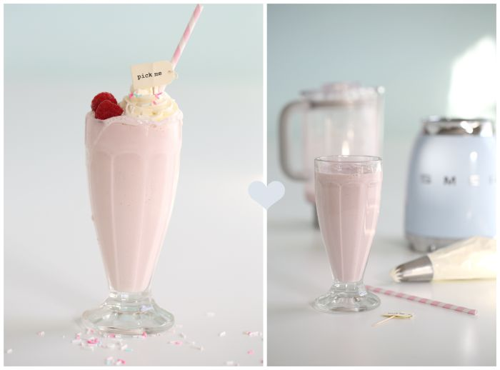 Banana & raspberry milkshakes