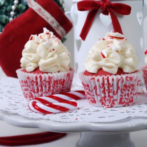 Red Velvet Cupcakes with Mascarpone Cream Cheese Icing and Crushed Candy Cane