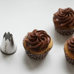 Chocolate Chips Cupcakes & Creamy Caramel Chocolate frosting