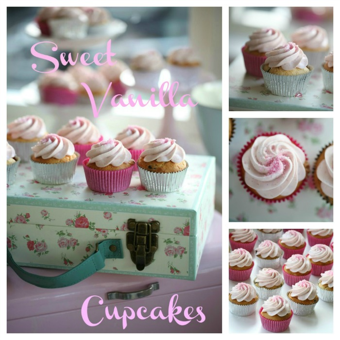 Sweet vanilla cupcakes & raspberry vanilla cream cheese frosting