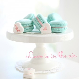 Turquoise Vanilla Macarons & Pink Candy Frosting